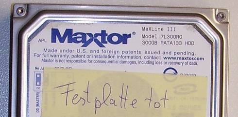 Defekte Maxtor HDD