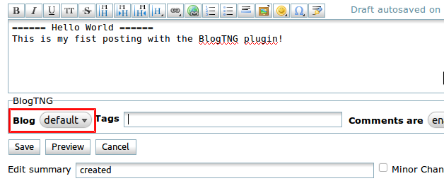 Additional BlogTNG control elements
